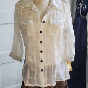 Da-Nang Surplus White Button Down Shirt Size Small